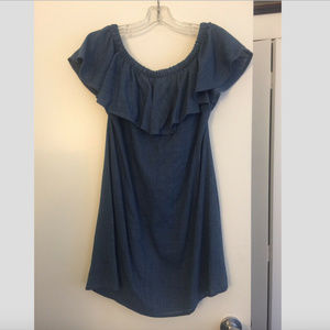 Madewell Blue Chambray off Shoulder Ruffle Dress
